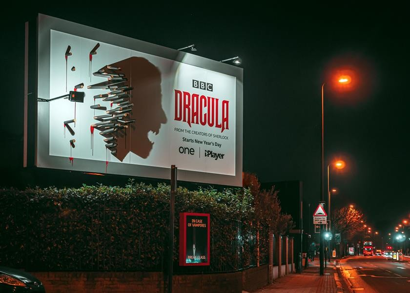 Dracula London Billboard at night