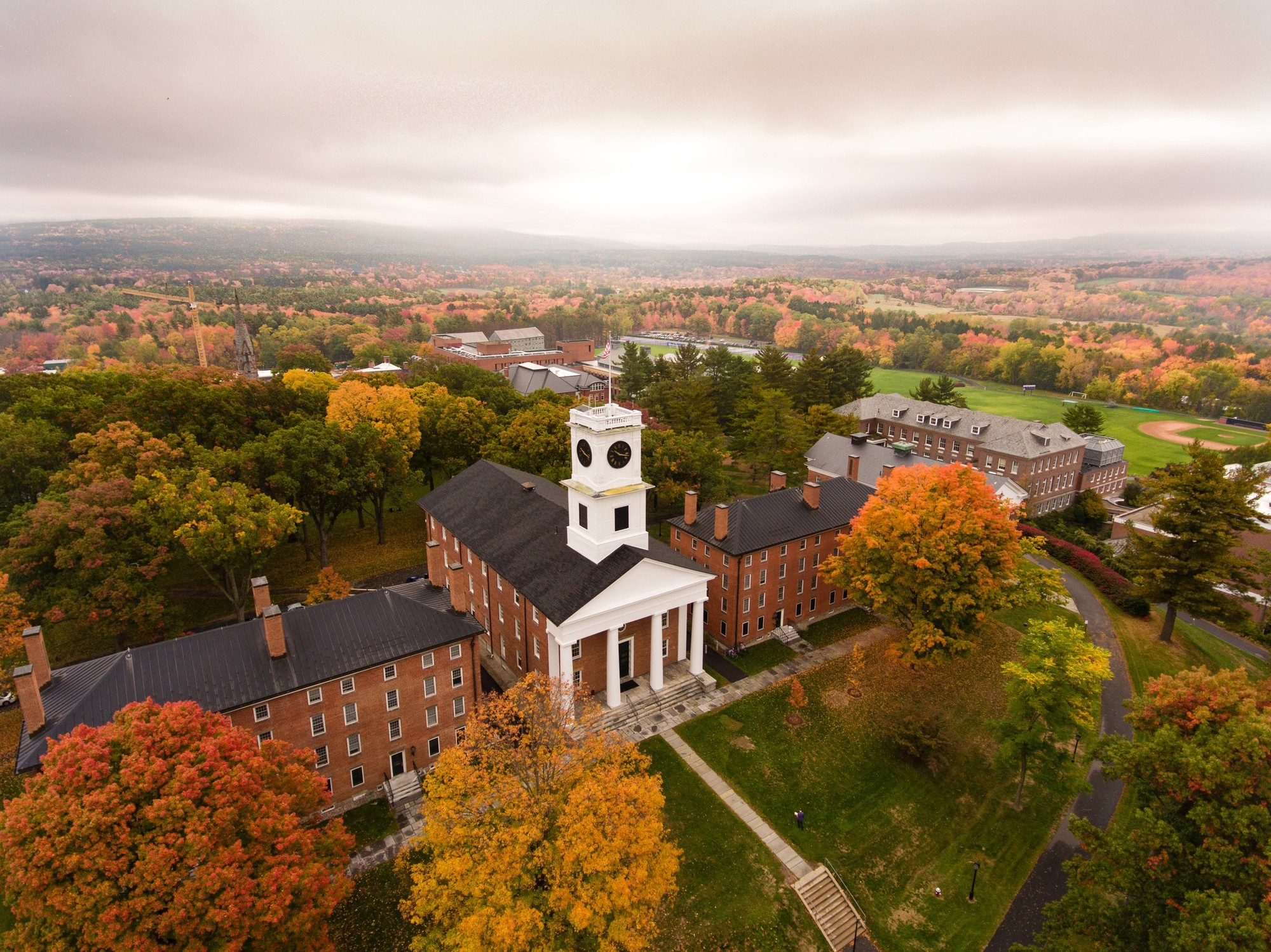 Aerial view of Amherst College campus