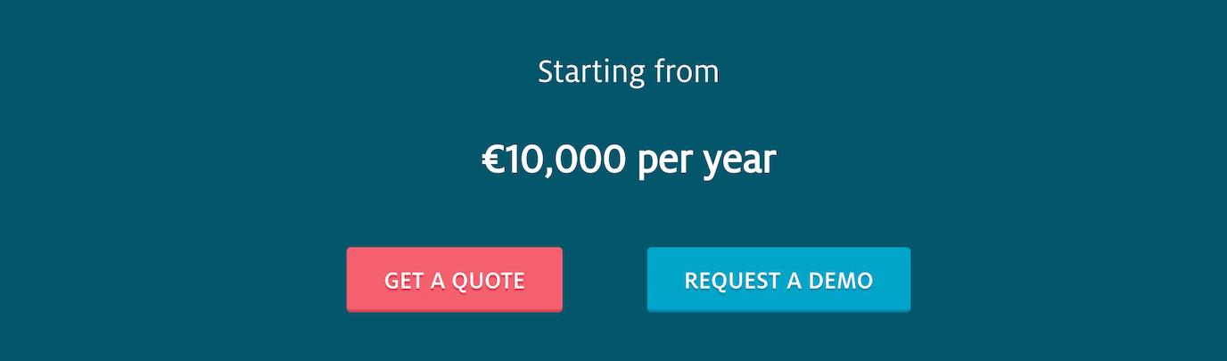 Usabilla pricing: starting from €10,000 a year