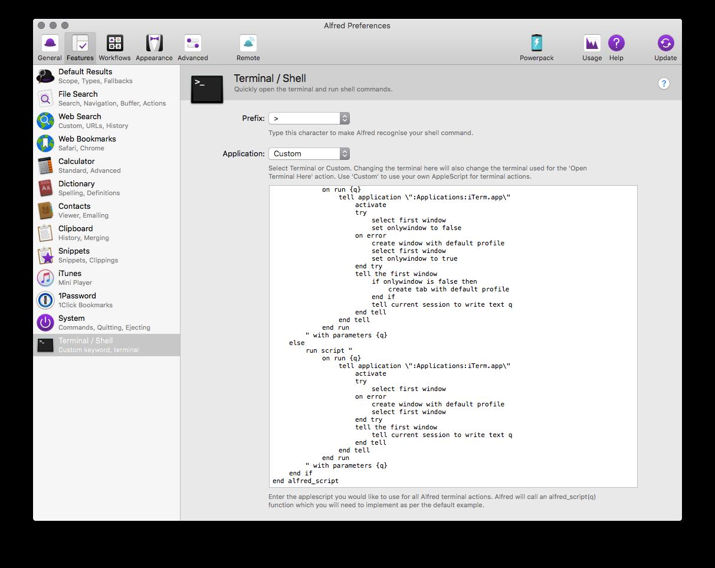 Screenshot of the terminal settings in Alfred