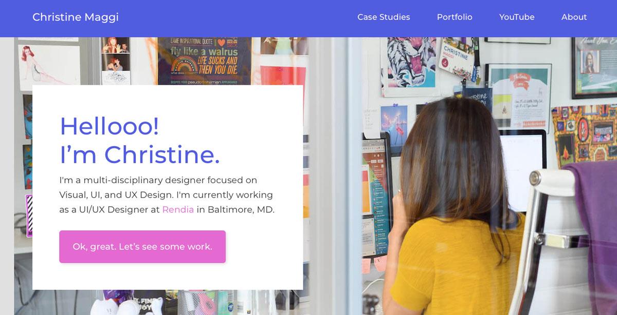 The homepage of Christine Maggi's UX design portfolio website