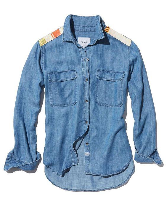 Chemise en jean à épaulettes amiral