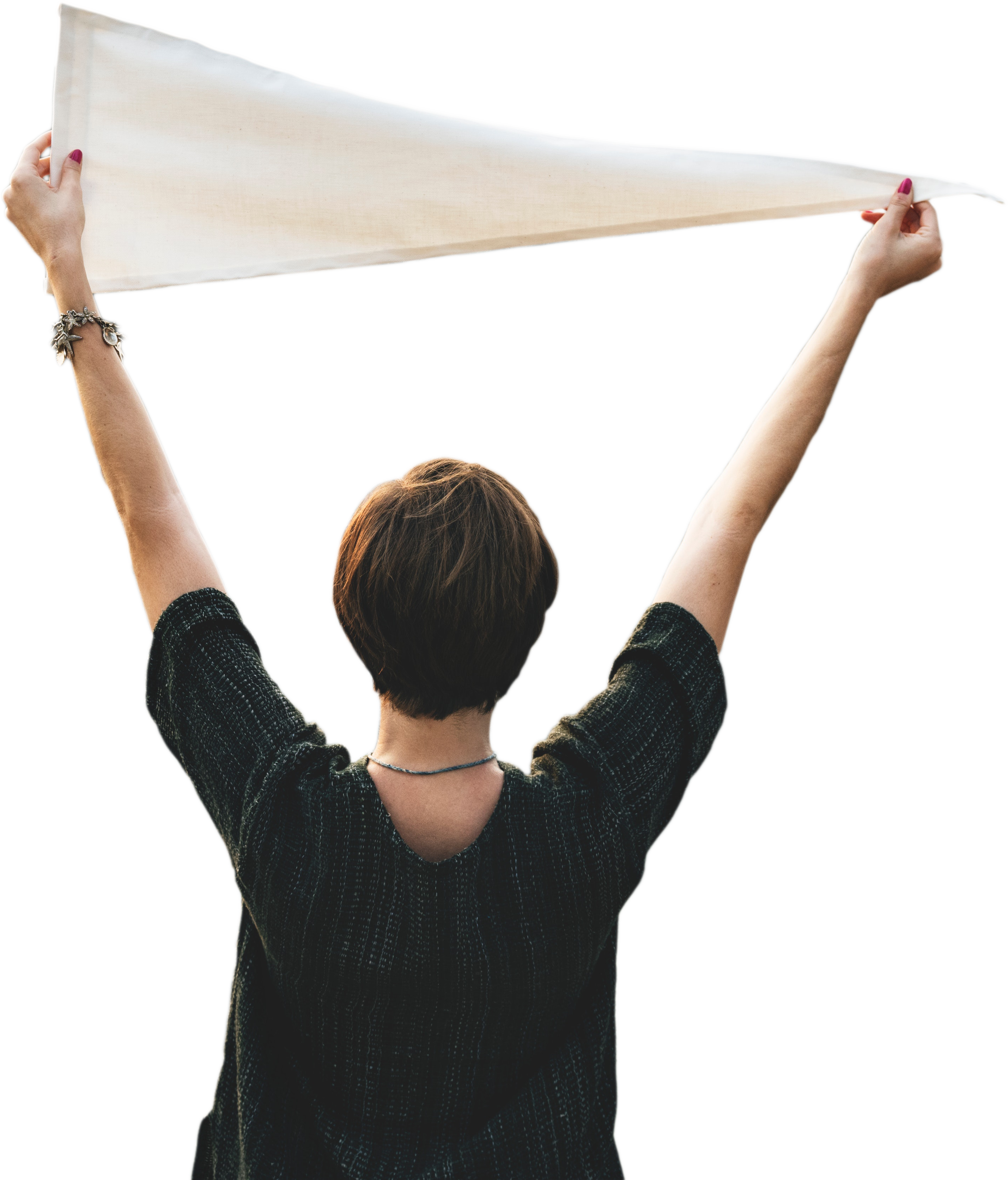 image of a person holding up a white flag