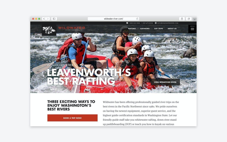 Wildwater River website - desktop view