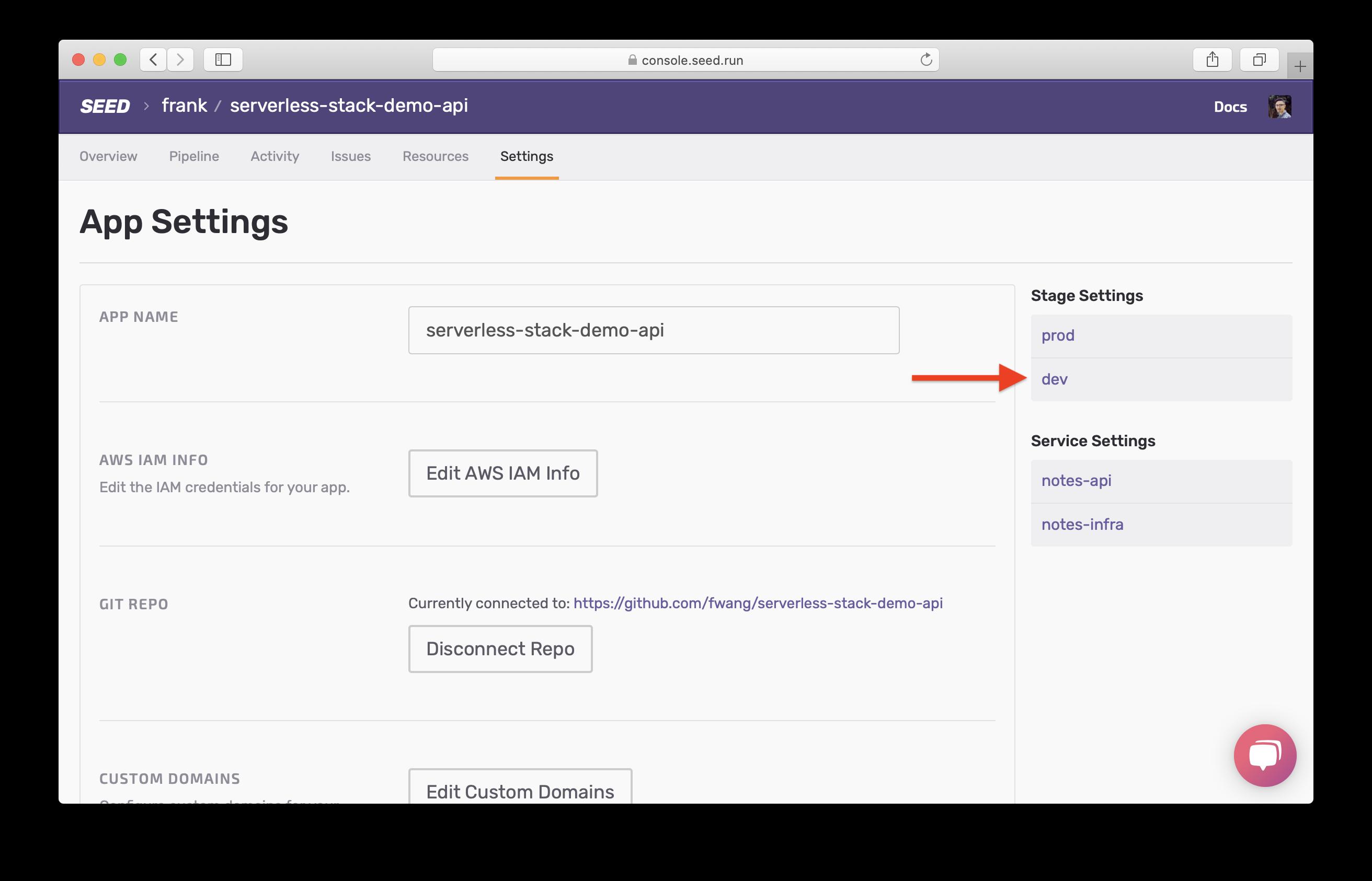 Select dev stage in Settings screenshot