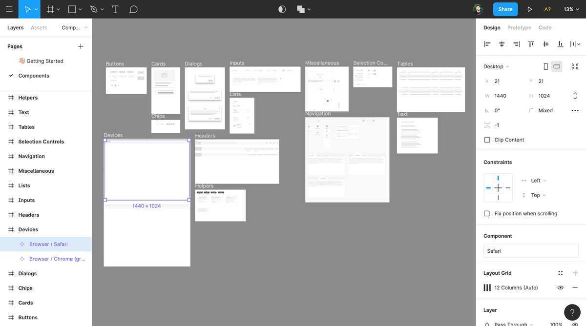 Creating wireframes on Figma