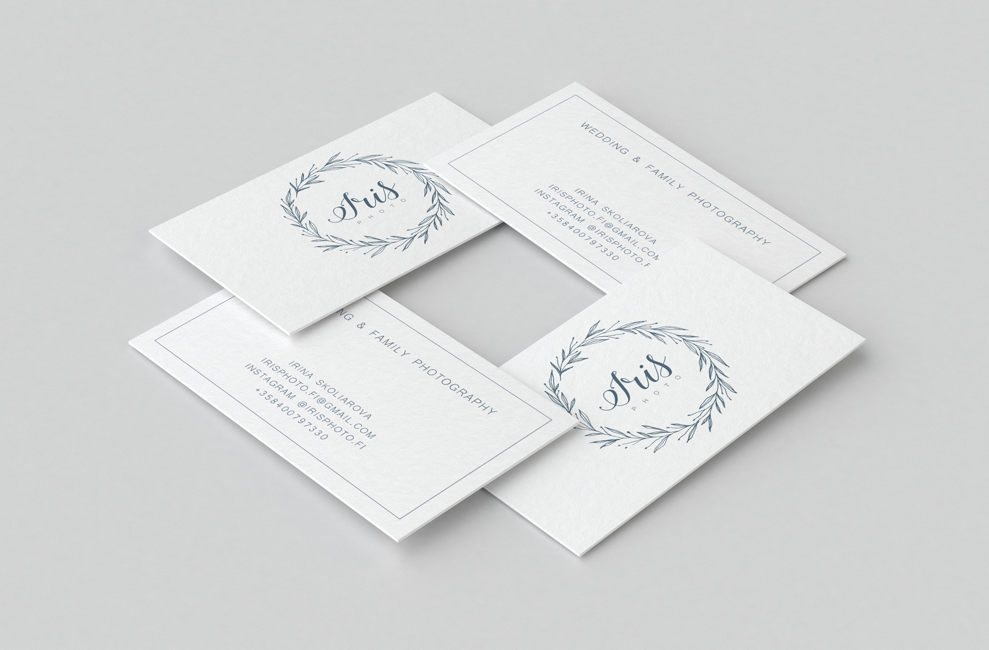 botanical logo and business card for Iris photography item