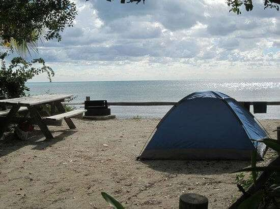 Long key state park campsite by the sea