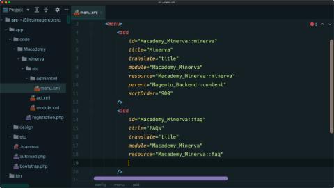 Create admin menu items