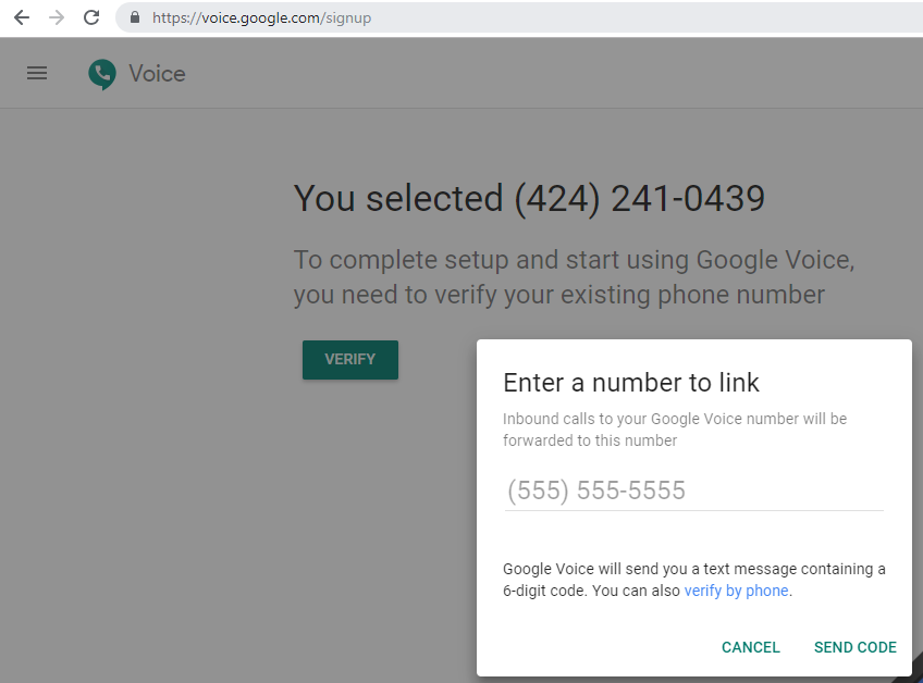verify Google Voice number