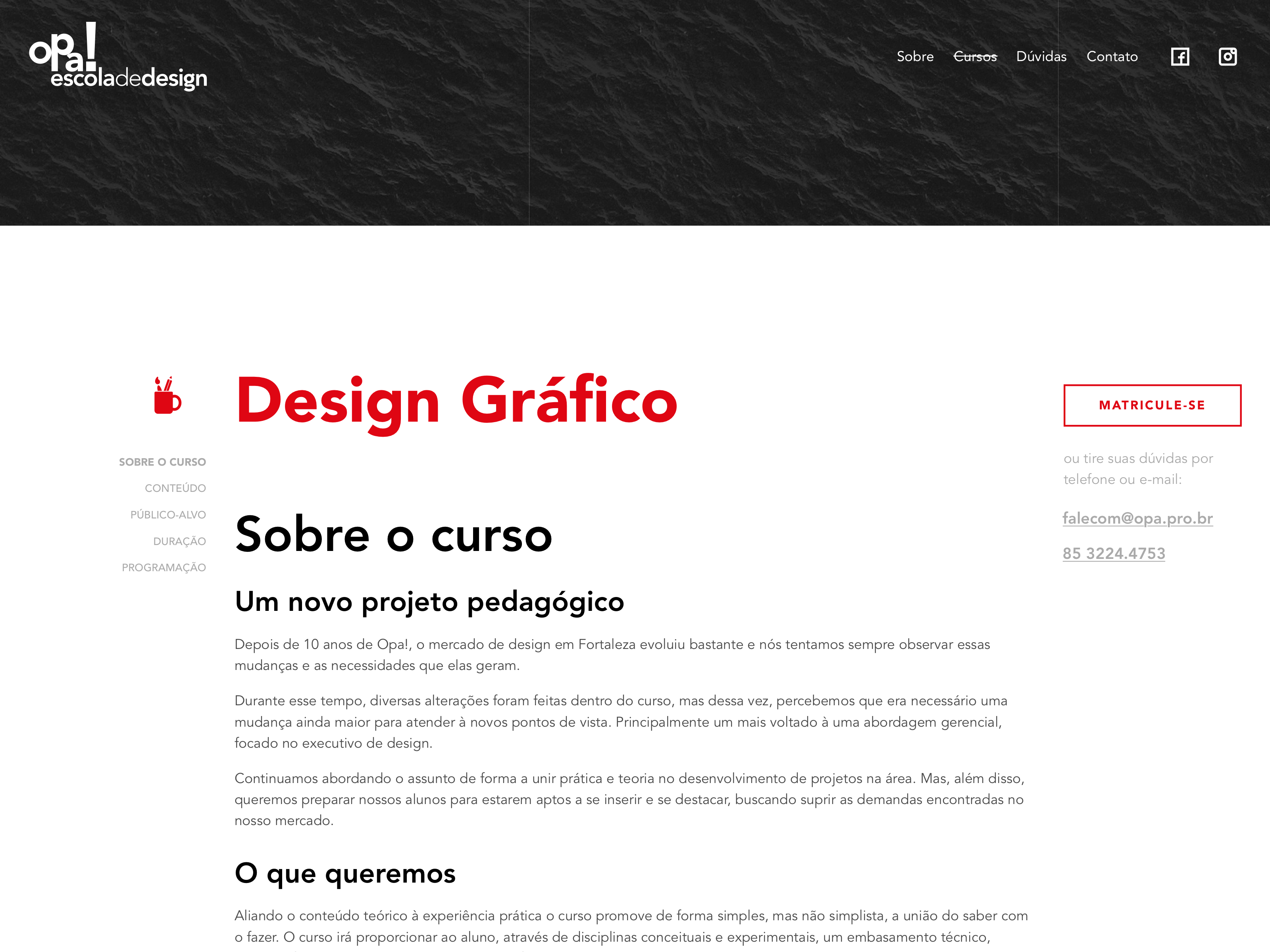 Start of the courses page with information from the Graphic Design course