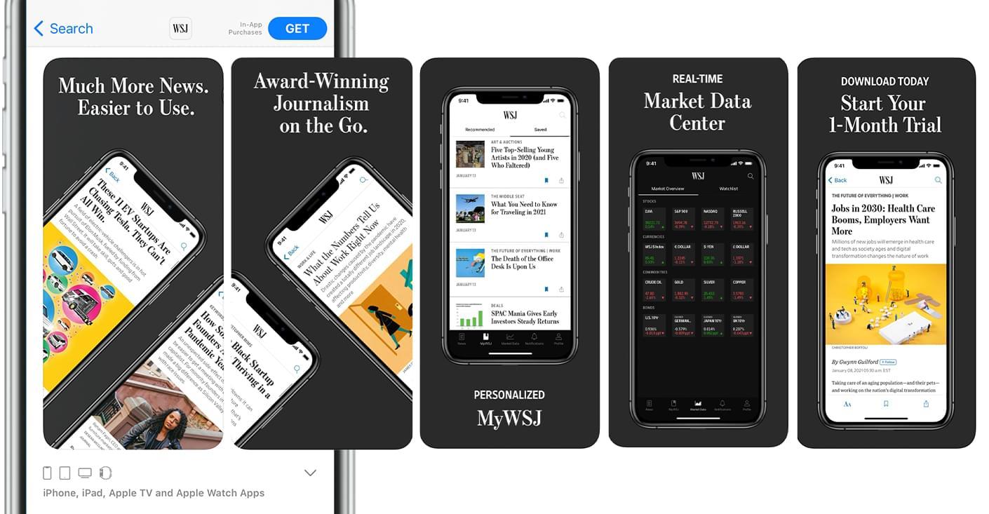 Five Mobile Phone Screenshots