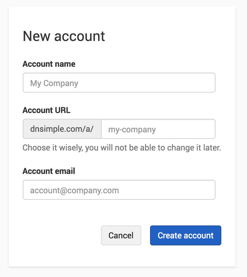 Add New Account form