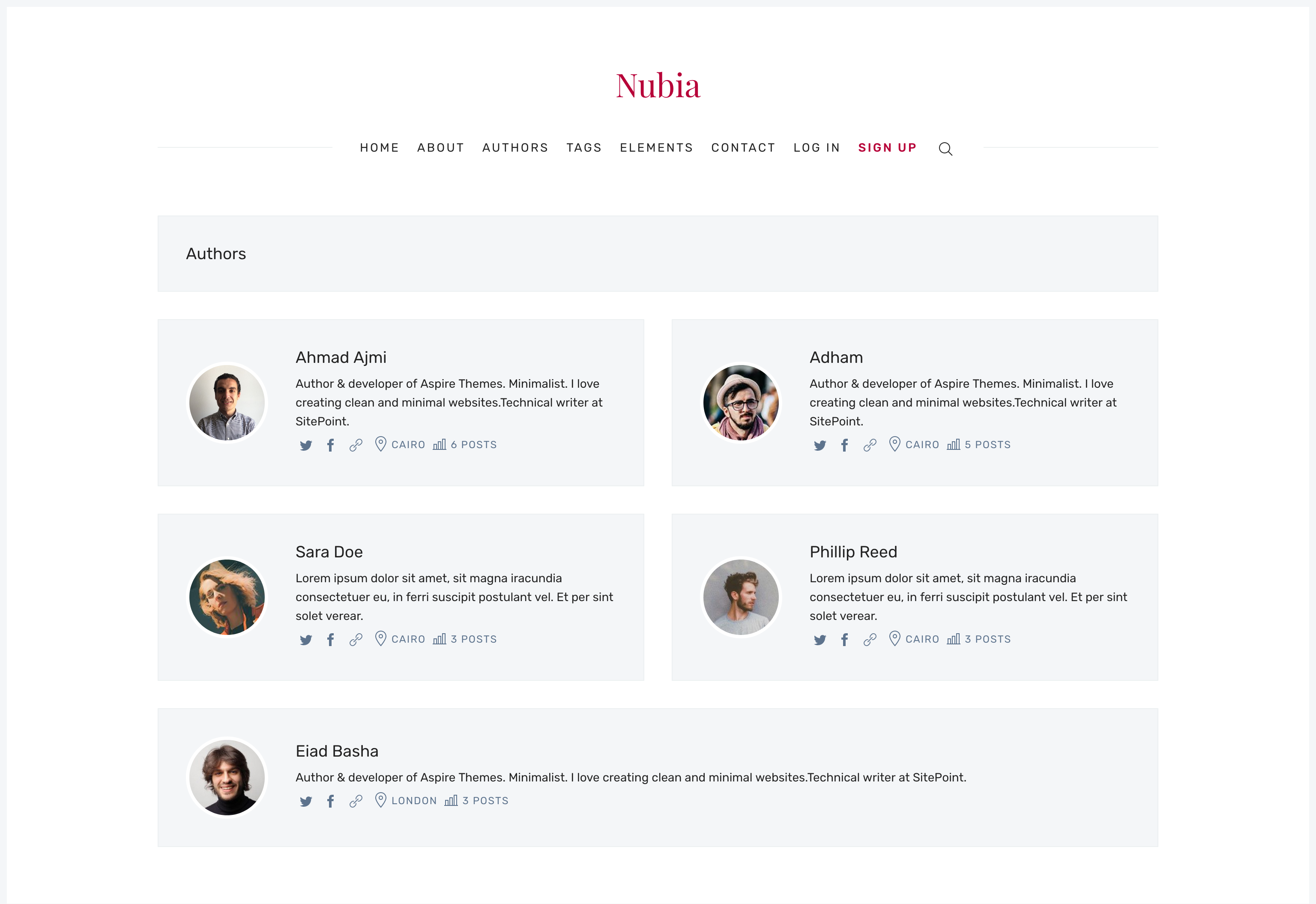 Ghost Nubia Theme Authors Page
