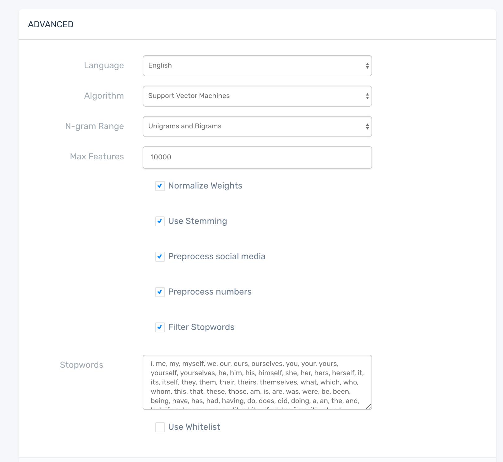 Classifier settings