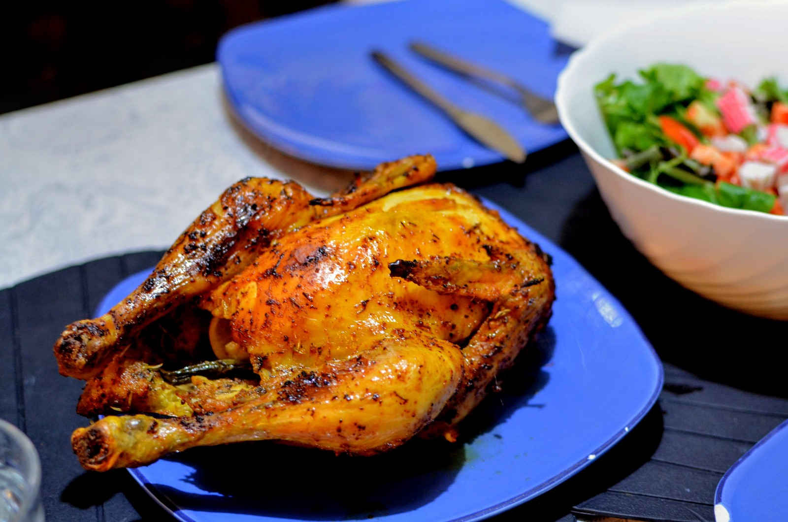 Roasted chicken with vegetable salad