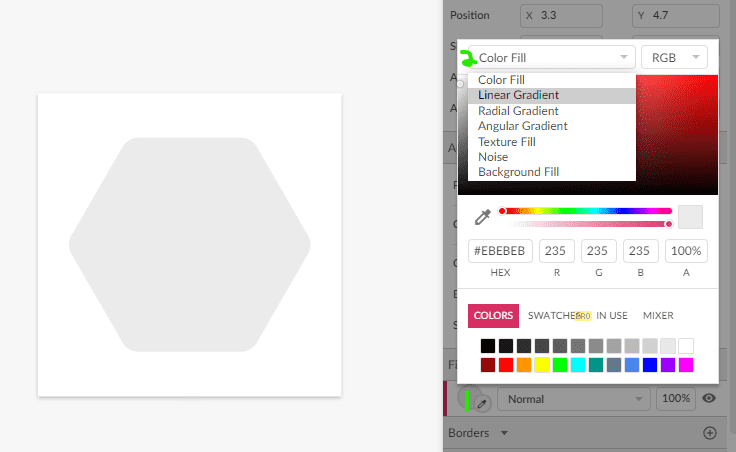 Menus to change the fill type to Linear gradient