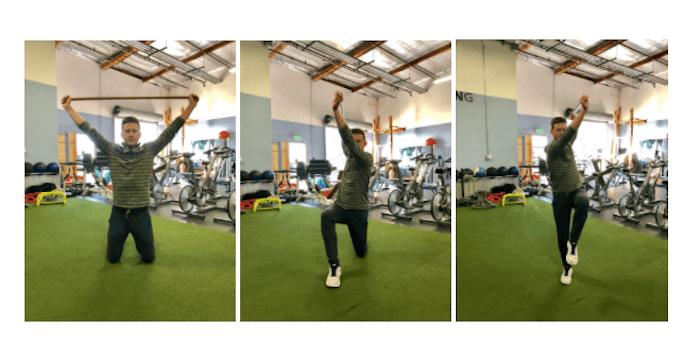 image of high-kneeling dowel exercise