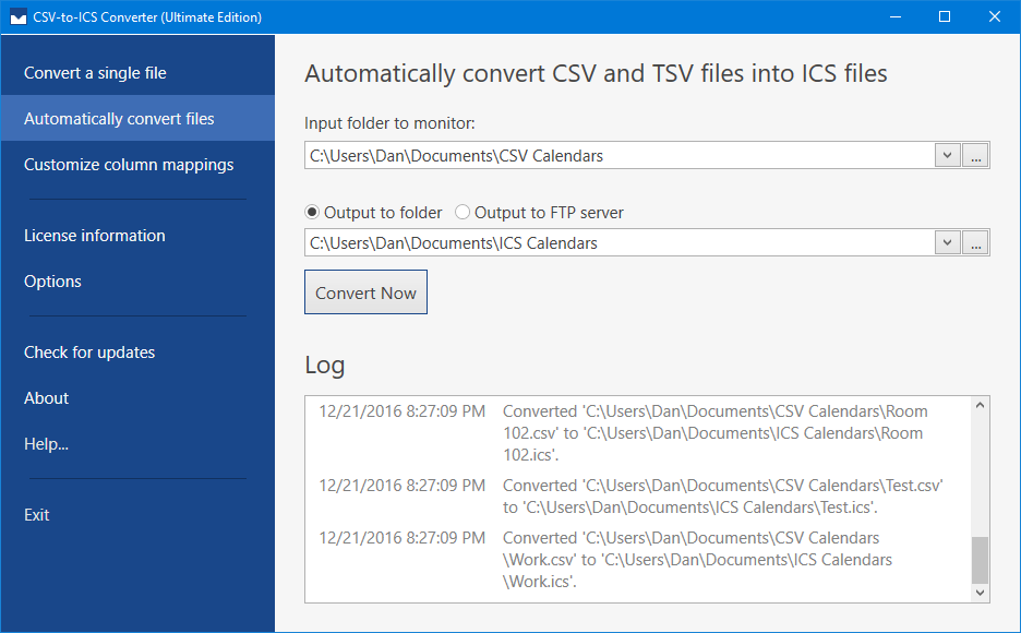 A log will show when CSV files have been automatically converted into ICS files.