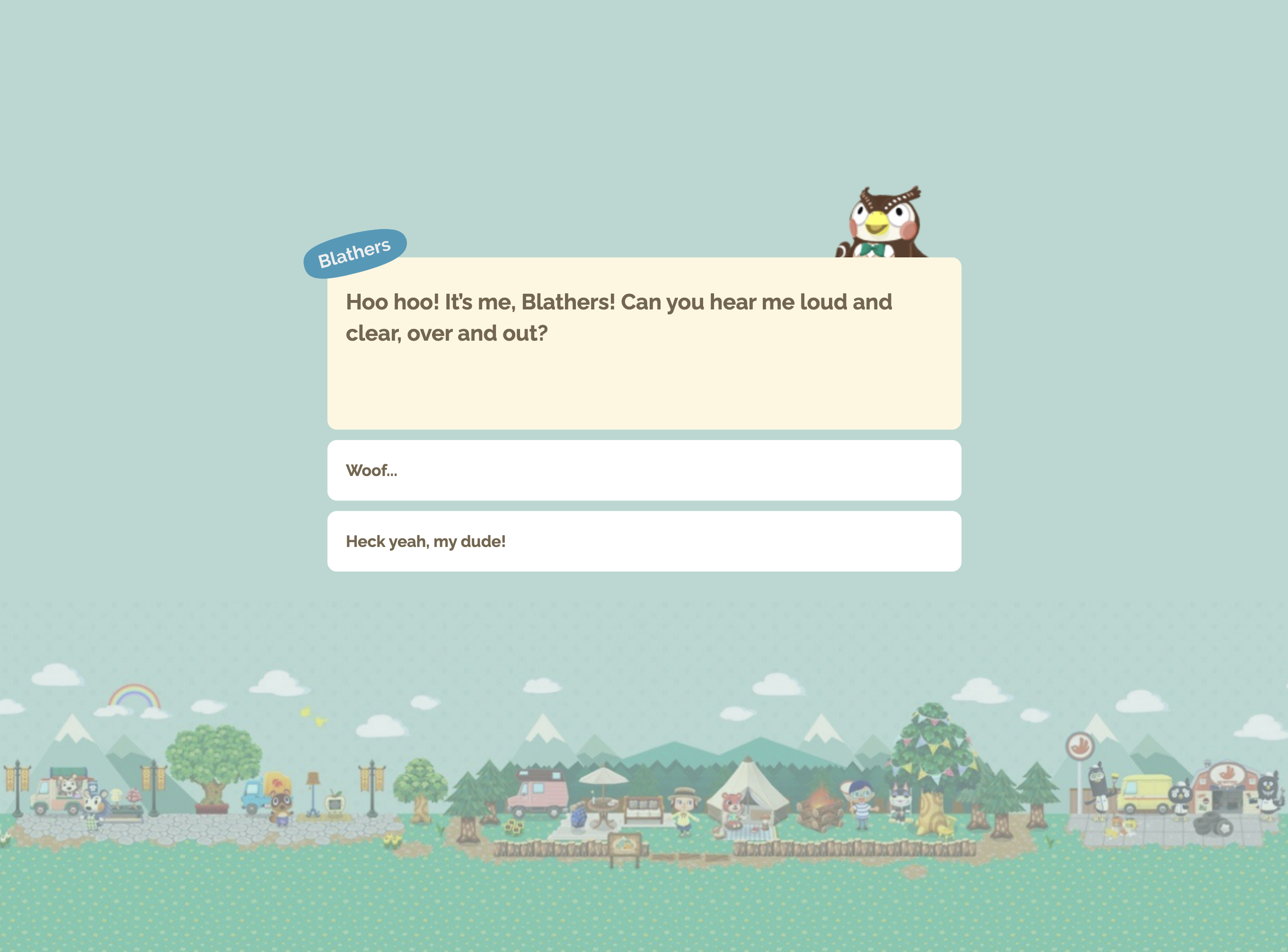 A text adventure game inspired by Animal Crossing