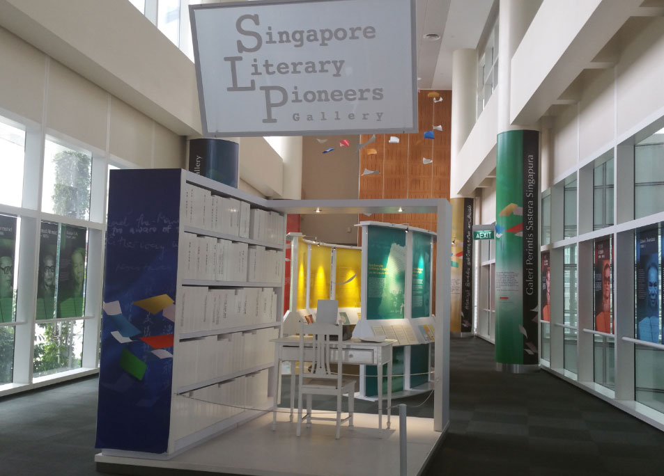 A photo showing an overview of Singapore Literary Pioneers exhibition.