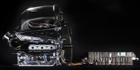 A Formula1 hybrid engine linked to a battery pack