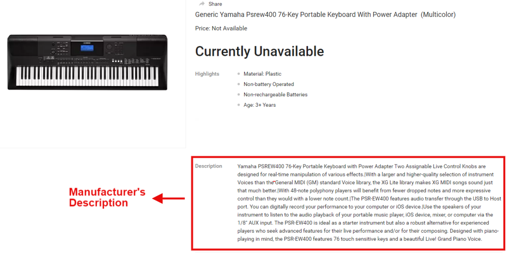 Keyboard Product descriptions own