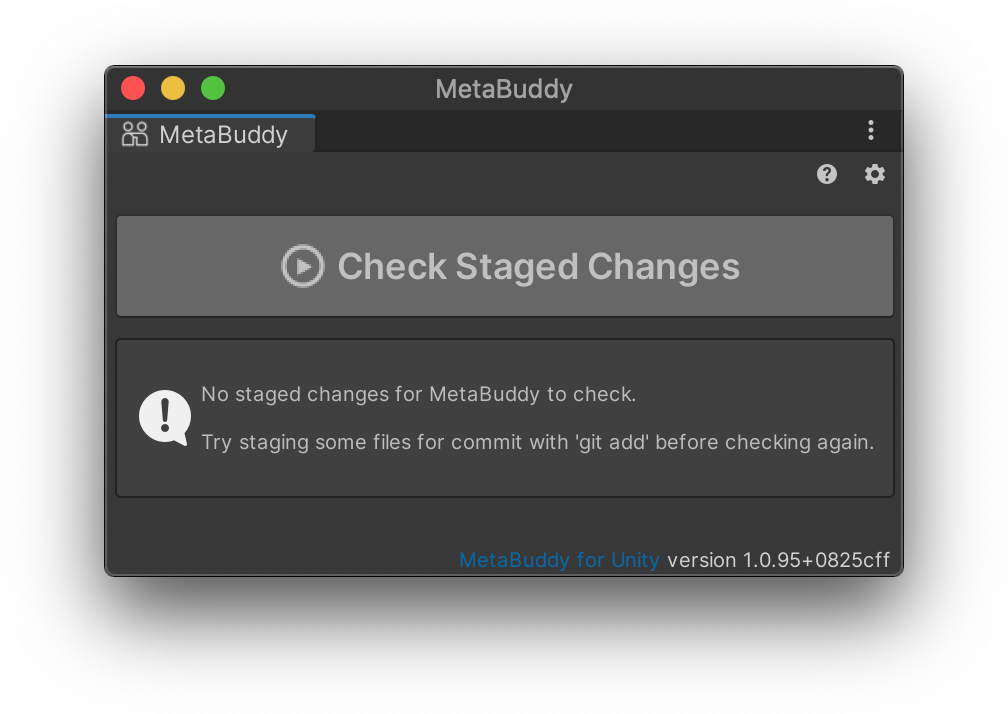 MetaBuddy Error No Staged Changes