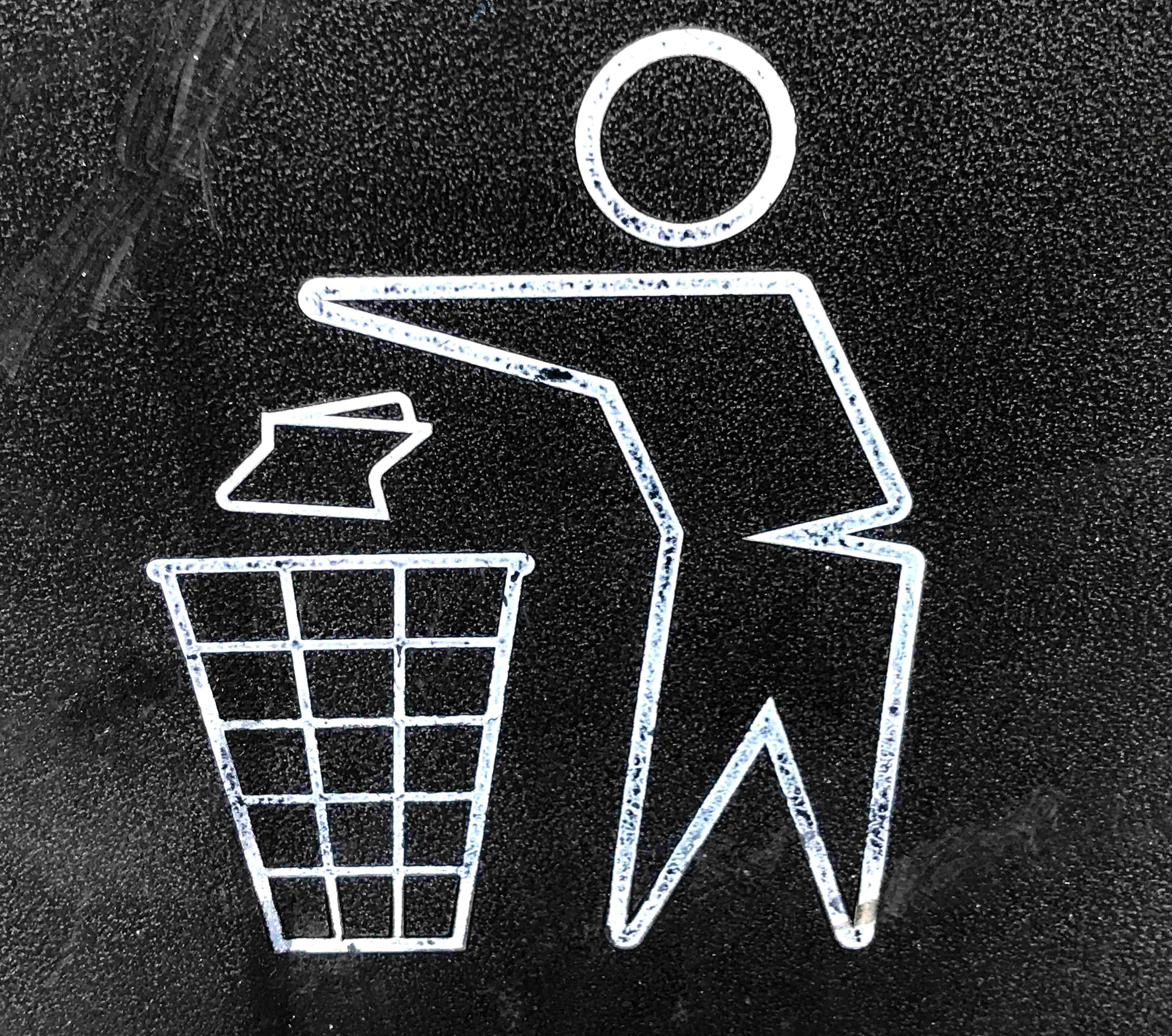 Person throwing out garbage icon