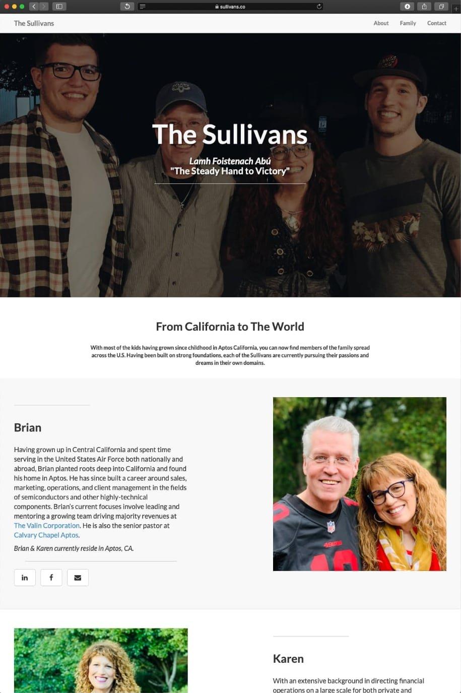 A screenshot of the sullivans co webpage I built