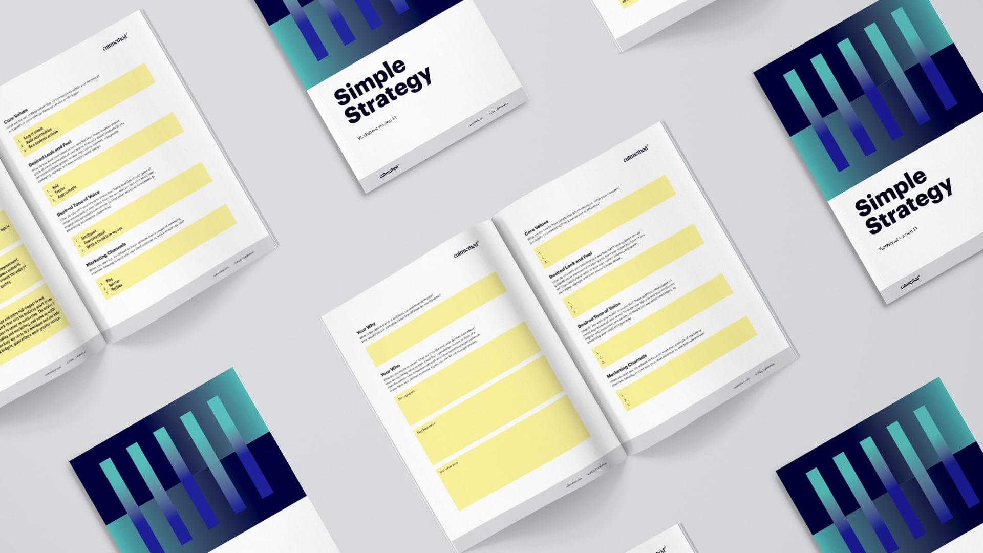 Downloadable brand strategy booklet contents