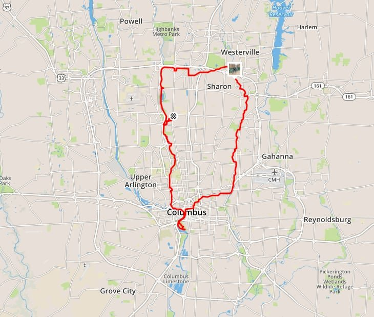 A map showing the route I rode around Columbus