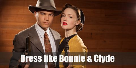 Bonnie wears a pink beret, a pink shirt with a scarf on her neck, a brown pencil skirt, and oxford shoes. Where as Clyde wears a brown fedora hat, black suit with brown and white necktie, and black oxford shoes.