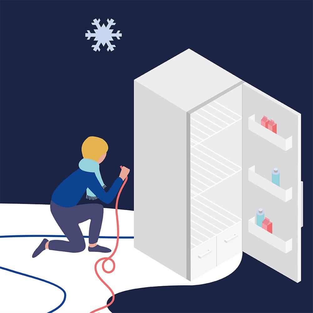 Teilillustration von Ferroric Cooling: Männchen schließt Kühlschrank an