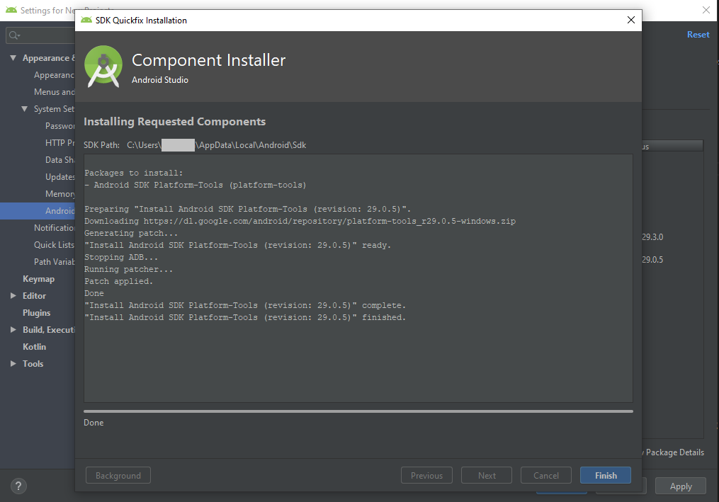 SDK Tools tools install completely