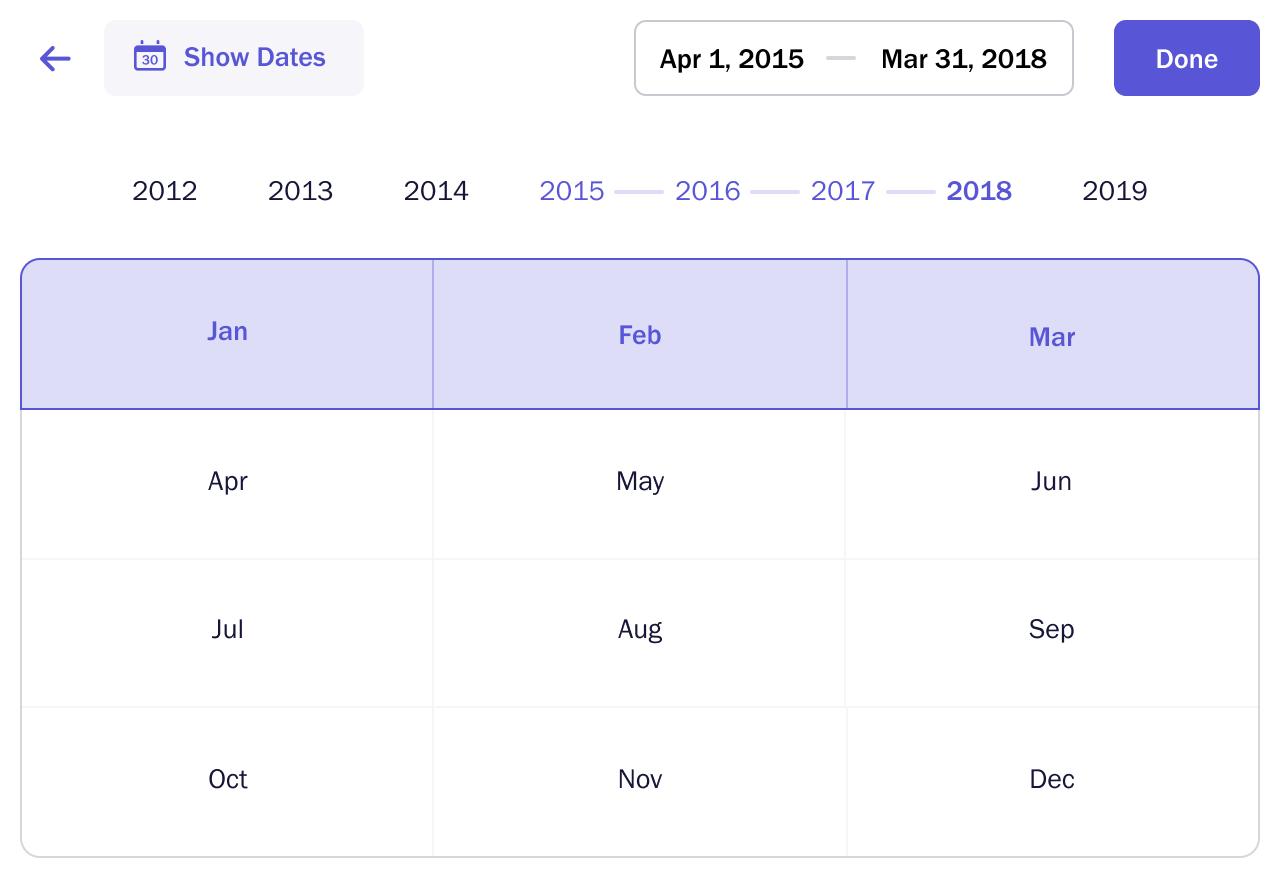 DatePicker alternate months view