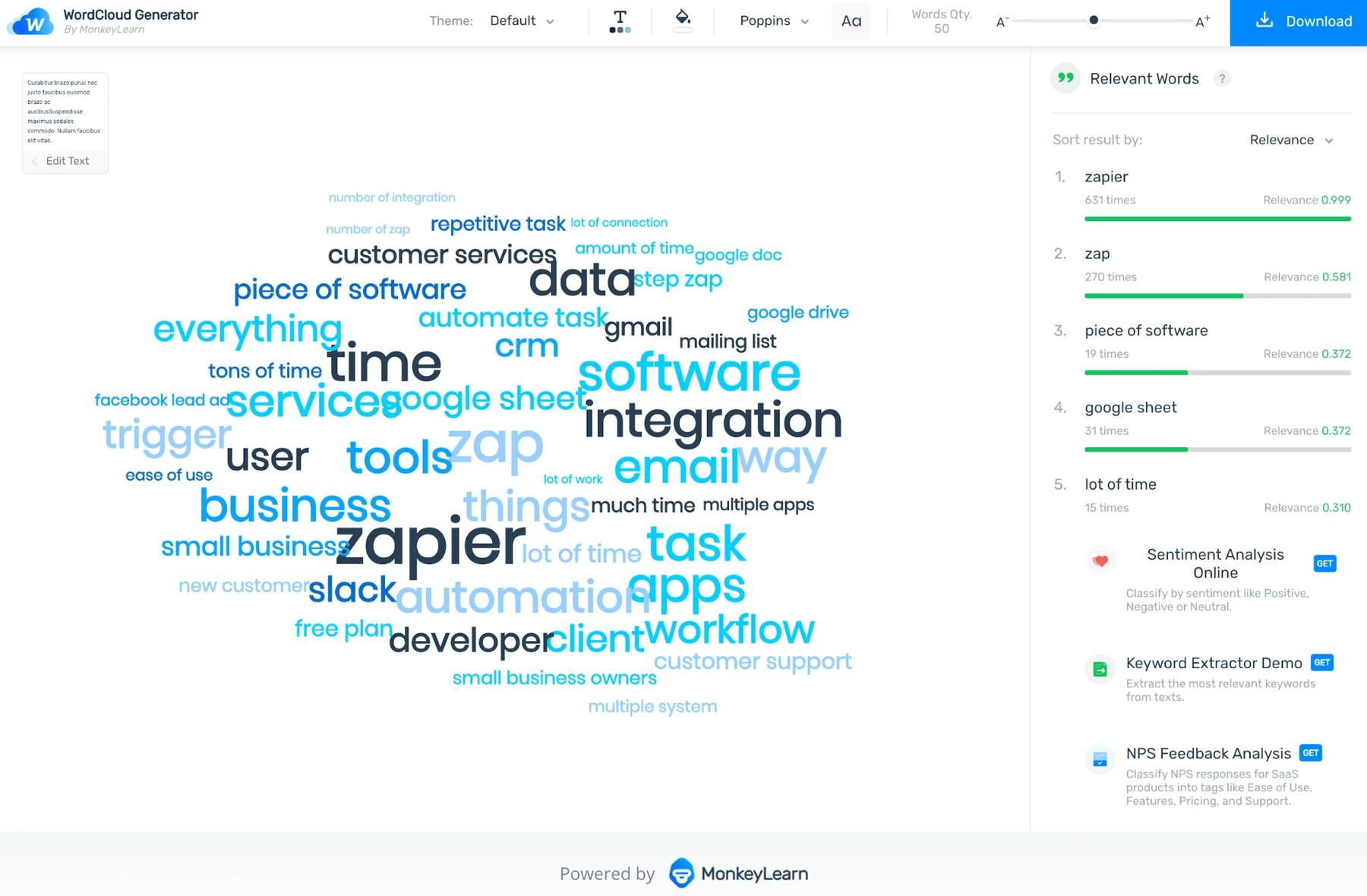 MonkeyLearn's word cloud generator showing the word cloud created from Excel data