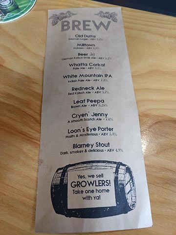 White Mountain Brewing Company beer list