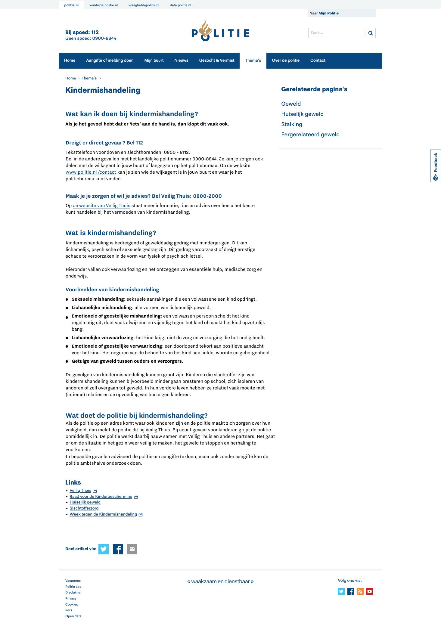 Geoptimaliseerde versie van dezelfde pagina op Politie.nl over kindermishandeling..