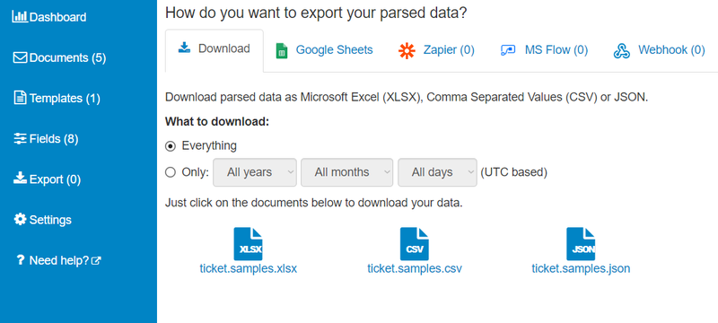 export parsed data