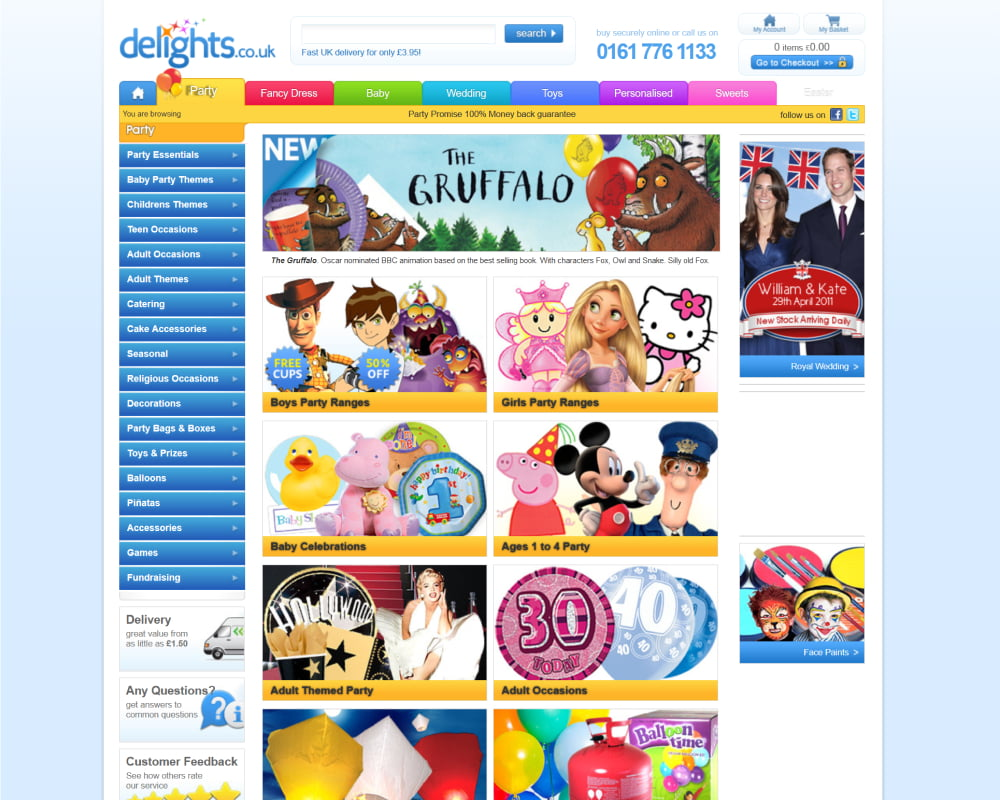 Party Delights website with a fixed light blue background, multicolour tabs and re-branded delights.co.uk.