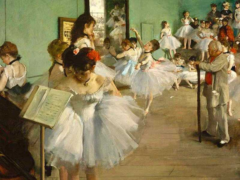 Degas painted a number of variations of the Dance Class, found in the D'Orsay and the Met.