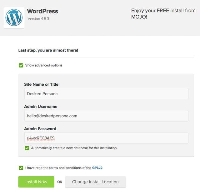 WordPress install script