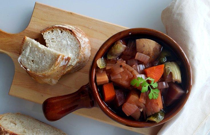 Bowl of Portobello mushroom dark ale stew