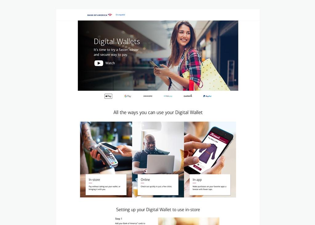 Screenshot of Digital Wallets desktop site