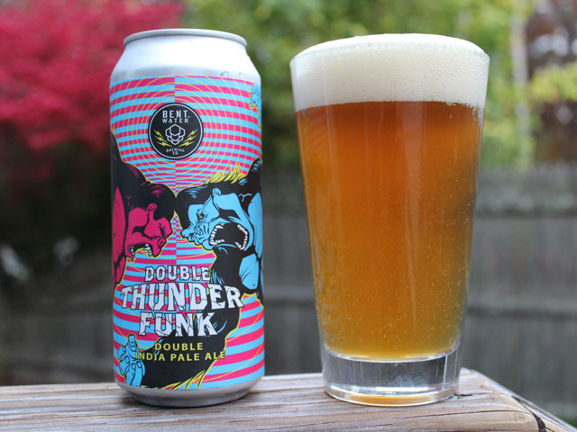 A 16oz can of Double Thunder Funk poured into a pint glass