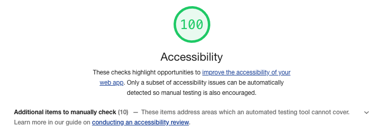 google lighthouse displaying a good accessibility score
