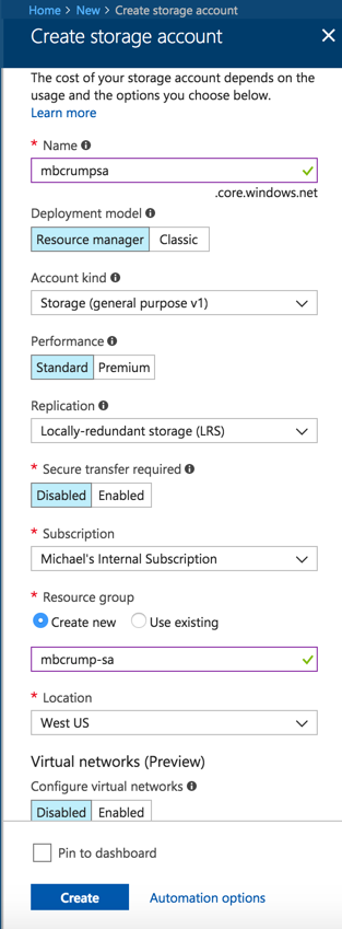 - storageacct1 - Azure Tips and Tricks Part 82 – Creating your first Azure Storage Table