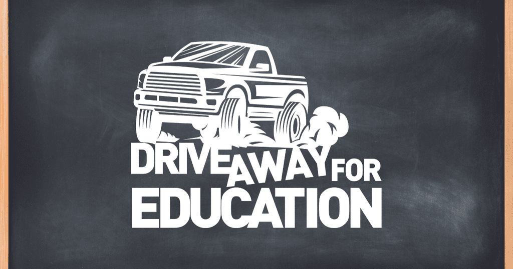 An image of a chalk board with the Drive Away for Education logo on top