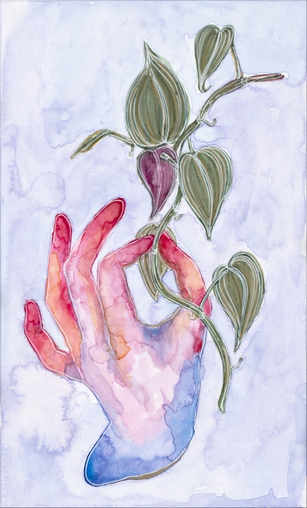 HEARTLEAF IN HAND, watercolor on paper, 2019.